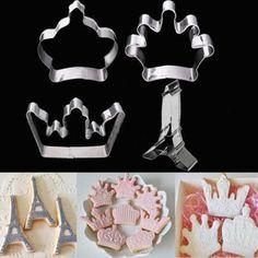 Inoxidável Cookie Cutter Crown Tower Biscuit bolo Fondant molde de Metal Baking HI