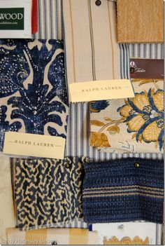 Coordinating fabrics from Suzanne Tucker, Ralph Lauren, Jane Shelton - by Cindy Hattersley Fabric Patterns, Color Patterns, Color Schemes, Ralph Lauren Fabric, Fabric Board, French Country Living Room, Fabric Combinations, Textiles, Coordinating Fabrics