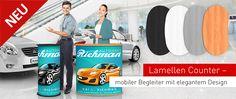 Lamellen Counter – mobile Messetheken in runder und gebogener Ausführung. Mit ihrem modernen Design und dem guten Preis-Leistungsverhältnis ergänzen die #Lamellencounter wunderbar das bestehende Messetheken Sortiment bei Vispronet®.