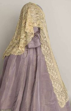 Side View Of Beaded Lace Cape   c.1860-1880