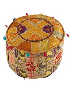 Indian Ottoman Pouf Cover Yellow Decorative Living Room Foot Stool Bohemian Chair Covers Handmade Cotton Traditional Round Pouf Ottomans Comfortable Embroidered PatchWork Floor Cushion By Rajrang