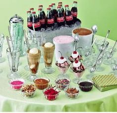 Ice cream float buffet. What to have in place of a wedding cake- dessert bar cake pops, cookies and  a host of other treats.