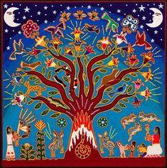 Huichol yarn painting, Mariano Navarro Valdez ,San Sebastian, a colonial town in the state of Jalisco. Native Art, Native American Art, Pintura Tribal, Arte Latina, Kunst Der Aborigines, Afrique Art, Yarn Painting, Psy Art, Indigenous Art