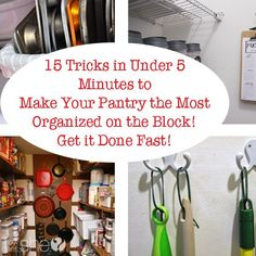15 Tricks in Under 5 Minutes to Make Your Pantry the Most Organized on The Block! Get it Done Fast! Kitchen Organization Pantry, Kids Room Organization, Clutter Organization, Kitchen Storage, Organized Pantry, Household Organization, Organizing Paperwork, Organizing Your Home, Organizing Ideas