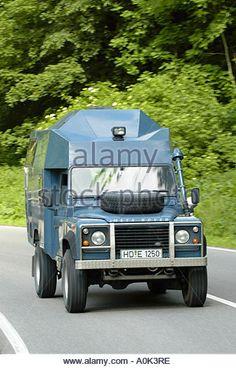 Custom built Land Rover Defender Camper 200TDI on the road - Stock Image