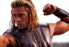 """Achilles (Brad Pitt) in the movie adaptation of """"Troy."""" Someone has made an argument for it! I'd have to re-watch the film to see if I agree. Brad Pitt Workout, Troy Achilles, Brat Pitt, Troy Movie, Byronic Hero, Brad Pitt Hair, Brad Pitt Photos, Celebrity Workout, Don Juan"""
