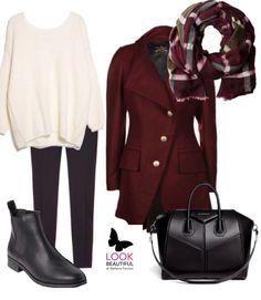 Burgundy coat with black&white