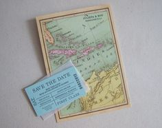custom vintage map save the date for a destination wedding by paper & cup  (what a great way to send a message)