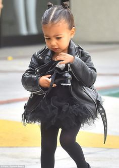 Biker chic: North must be the envy for pals, as she continually steps out in stylish child...