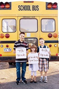 The Bus: There's no surer sign that school's back in session than seeing yellow school buses roll through town. Before the kids get on the bus, snap a quick picture of them posing with it.  Source: Priceless Impressions