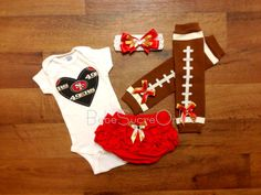 Adorable girls' 49ers outfit for game day