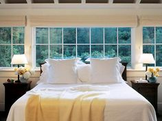 Windows above bed