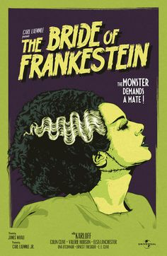 The Bride of Frankenstein Horror Movie Posters, Movie Poster Art, Film Posters, Horror Vintage, Retro Horror, Halloween Poster, Halloween Art, Halloween Recipe, Halloween Cupcakes