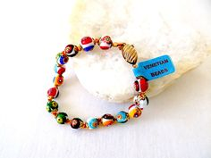 Authentic Venetian Millefiore Bead Bracelet with Tag by EyeSpyGoods on Etsy