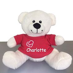 Personalized Be Mine Snuggle Bear - White, 10 inch (Red T-Shirt). ***PLEASE READ*** Your order will automatically be processed with the name of your choice. Dibsies adds your child's name (For Free!) in a beautiful embroidery as shown. Measures: 10 inches full length, 8 Inches sitting down. Materials: Polyester Fiber Fill. Safe for all ages.