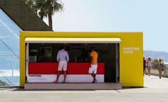 Pantone has opened a temporary pop-up cafe on Grimaldi Forum in Monaco. The Monaco Restaurant Group is behind the colorful cafe that serves color-coded coffee, croissants, Italian sodas, sandwiches… Pop Up Cafe, Monaco Restaurant, Pop Up Restaurant, Restaurant Ideas, Kiosk Design, Cafe Design, Retail Design, Interior Design, Pantone Cafe