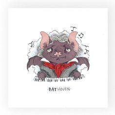 Art Print BatHoven by OdelDrawings on Etsy