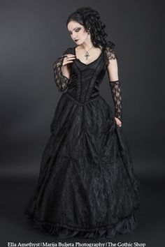 Alvira BLACK Satin and Lace Gothic Prom Dress by Sinister