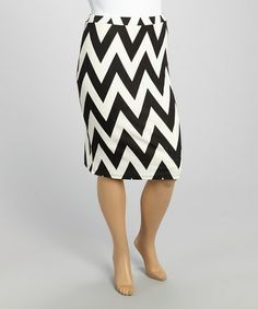 Love this Black & White Zigzag Pencil Skirt - Plus by MOA Collection on #zulily! #zulilyfinds