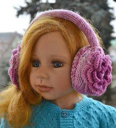 Purple Earmuff crochet flowerwinter accessoriesWarm by DosiakStyle