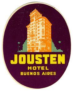 Jousten Hotel - Buenos Aires (Luggage Label) by Artist Unknown | Shop original vintage posters online: www.internationalposter.com