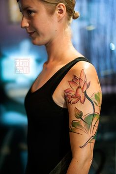 Flowers for Liisa - artwork and tattoo by Wang - Tattoo Temple Hong Kong    www.tattootemple.hk