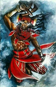 Ogum Guerreiro do artista plástico Rodolfo Troll.*** Ogun is a powerful Orisha, lord of iron and fire. He is a warrior, a fighter who defends law … Shango Orisha, Orishas Yoruba, African Mythology, Yoruba Religion, Black Artwork, African Diaspora, Gods And Goddesses, Afro Art, African Art