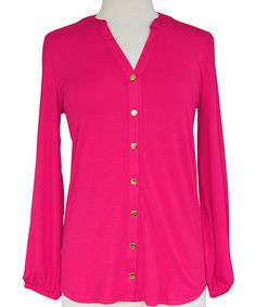 Look at this #zulilyfind! Fuchsia Long-Sleeve Button-Up Top by Haley and the Hound #zulilyfinds