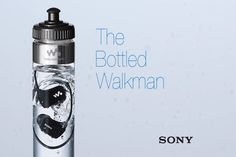 Sony unveils a new video to show off its waterproof W Walkman player. The video shows the Walkman fully submerged in a bottle of water. Sony, Waterproof Headphones, Digital Trends, Technology Gadgets, Mp3 Player, Voss Bottle, Water Bottles, Packaging Design, Product Packaging