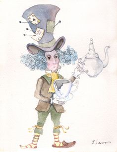 ALICE IN WONDERLAND ORIGINAL WATERCOLOR PAINTING MAD HATTER TEAPOT 6.3/4.7 inch