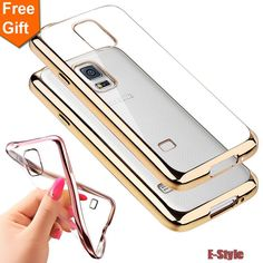 phone cases For Samsung Galaxy S5 Case Silicone i9600 Clear Soft Transparent TPU for samsung s5 Cover Ultra-Thin Gold Plating