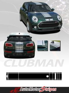 Stripes Vinyl Graphic Decals Mini Cooper Hood Clubman S-Type Rally Vinyl Graphic Decal | Year Fitment 2016 2017 2018 Mini Cooper CLUBMAN from AutoMotorStripes!