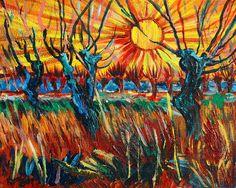 Willows at Sunset - study of Vincent Van Gogh by Karon Melillo DeVega Artist Van Gogh, Yellow Vans, Van Gogh Paintings, Art For Art Sake, Vincent Van Gogh, Fractals, Psychedelic, Surrealism, Sky