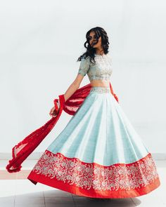 Powder blue lehenga Red border Red dupattaYou can find indian outfits and more on our website. Indian Lehenga, Half Saree Lehenga, Blue Lehenga, Lehnga Dress, Indian Wedding Lehenga, Lehenga Dupatta, Wedding Sari, Lehenga Blouse, Sabyasachi