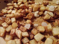 Fokhagymás sült zellerkockák Zeller, Cereal, Potatoes, Vegetables, Breakfast, Food, Turmeric, Morning Coffee, Potato