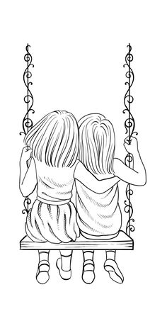 girls swing lines tattoo girls swing lines tattoo Bff Drawings, Drawings Of Friends, Art Drawings For Kids, Art Drawings Sketches, Easy Drawings, Hand Embroidery Patterns Free, Hand Embroidery Videos, Embroidery Art, Sisters Drawing