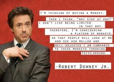 Robert Downey Jr Quote  Hilarious!  I LOVE him!!