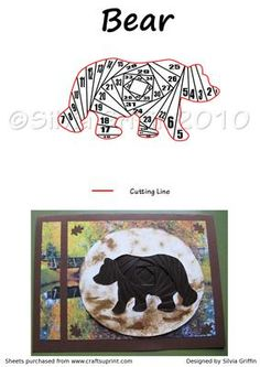 - Maybe this is a card for a Hunter ? or a out door enthusiasts? Hope you enjoy making this card. Iris Folding Templates, Iris Paper Folding, Iris Folding Pattern, Origami Folding, Paper Cards, Folded Cards, Cat Quilt Patterns, Wood Badge, Bear Card