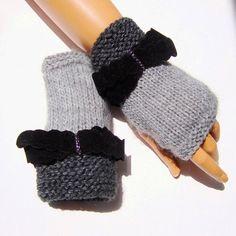 Knit Gray Gloves Fingerless Gloves Knitted Gray by RoseAndKnit
