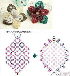 Best Seed Bead Jewelry 2017 - Schemas for netted flower ~ Seed Bead Tutorials Beaded Flowers Patterns, Beaded Necklace Patterns, Seed Bead Patterns, Beading Patterns, Beaded Bracelets, Stretch Bracelets, Seed Bead Flowers, French Beaded Flowers, Bead Jewellery