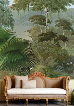 The wall mural and sofa