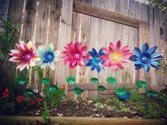 Dahlia flower garden stakes by Garden Dreams Decor, Metal Flowers,  Metal Art,  Pink Dahlias,  Blue Dahlias