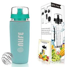 Nlife Large 32oz Fruit Infuser Water Bottle with Full Length Infusion Rod Flip Top Lid Ideal for Running Cycling Gym Travel and Camping Free Blender Balls Recipe Book Gift -- More info could be found at the image url.