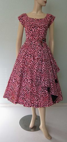 1950s Cotton Leopard Print Party Dress with Full Skirt and Big Side Swag - Five Thirty PM Fashions Label - Meow! VLV
