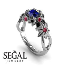 Unique Engagement Ring 14K White Gold Flowers And Branches Art Deco Edwardian Ring Sapphire With Ruby - Katherine #engagementrings #engagement #rings #floral #flower #wedding #diamond