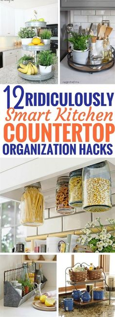 Incredible These kitchen countertop organization ideas are INCREDIBLE! I can't wait to try them out. Now I have so much more SPACE and it's less cluttered! Totally love these kitchen organization h ..