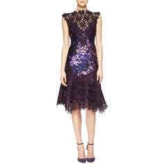 Monique Lhuillier Guipure Lace-Illusion Printed Dress ($3,495) ❤ liked on Polyvore featuring dresses, plum, a line cocktail dress, purple lace cocktail dress, scalloped lace dress, lace cap sleeve dress and purple dress
