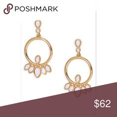 """🆕 Trina Turk Stone Frontal Hoops Earrings Gleaming bezel-set stones add fresh contrast to the shiny 14k gold plating of elegant frontal hoop earrings that coordinate with everything in your wardrobe. 2"""" drop. 1"""" width. Trina Turk Jewelry Earrings"""