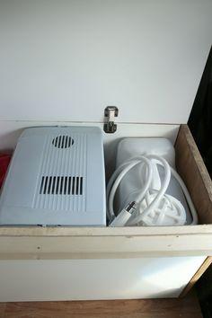 Shower and fridge