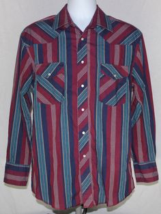 8961385af4 Wrangler Pearl Snap Shirt Medium Striped Western Rockabilly VTG 15.5 34    vintage